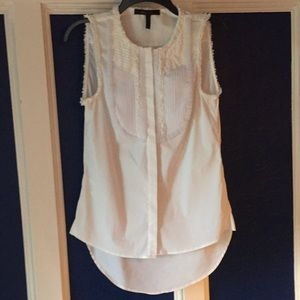 BCBG Gorgeous White Texido type shirt blouse tunic